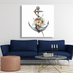 Canvas 48 x 48 - Boat anchor with flowers