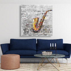 Canvas 48 x 48 - Graffiti of a saxophone on brick wall
