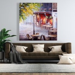 Canvas 48 x 48 - Outdoor restaurant by a nice day