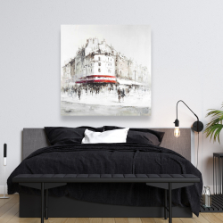 Canvas 48 x 48 - White street with red accents