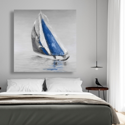 Canvas 48 x 48 - Gray and blue boat sailing