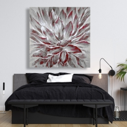 Canvas 48 x 48 - Red and gray flower