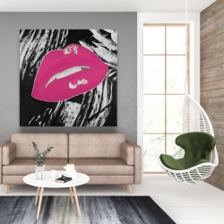 Canvas 48 x 48 - Kissable pink glossy lips