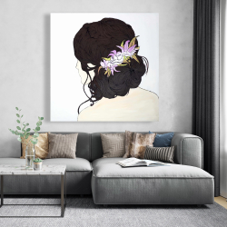 Canvas 48 x 48 - Woman from behind with pink flowers