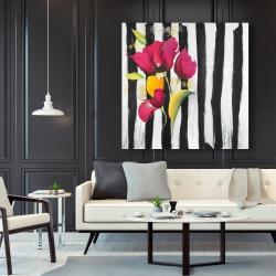 Canvas 48 x 48 - Pink flowers on black stripes