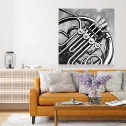 Canvas 48 x 48 - Musician with french horn monochrome