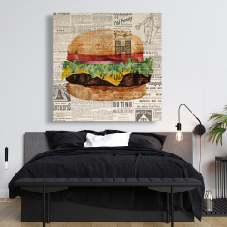 Canvas 48 x 48 - Vintage style all dressed cheeseburger