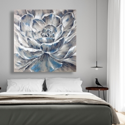 Canvas 48 x 48 - Gray and blue flower