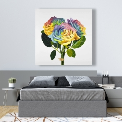 Canvas 48 x 48 - Bouquet of rainbow roses