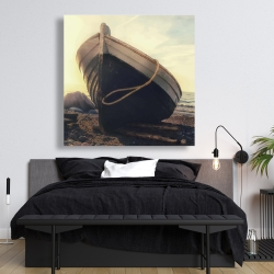 Canvas 48 x 48 - Rowboat at the water's edge