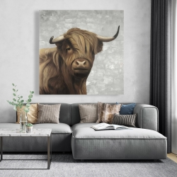 Canvas 48 x 48 - Desaturated highland cattle