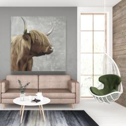 Canvas 48 x 48 - Beautiful desaturated higland cattle