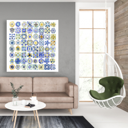 Canvas 48 x 48 - Watercolor traditional moroccan tiles