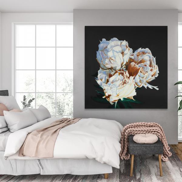 Canvas 48 x 48 - Blooming peonies