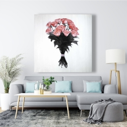 Canvas 48 x 48 - Bouquet of coral roses