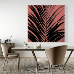Canvas 48 x 48 - Coral tropical palm leave