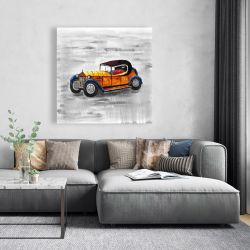 Canvas 48 x 48 - Yellow vintage car toy