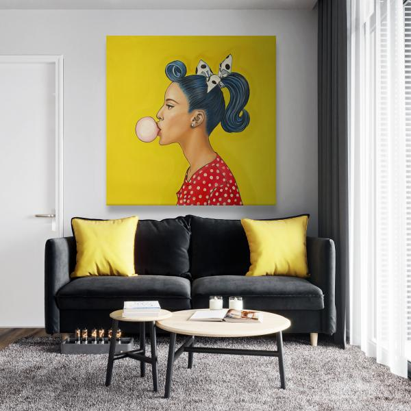 Canvas 48 x 48 - Retro woman with beautiful ponytail
