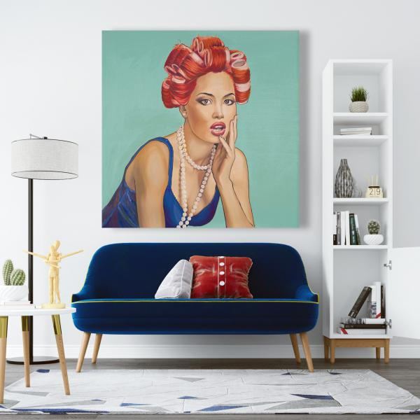 Canvas 48 x 48 - Pin up girl with curlers