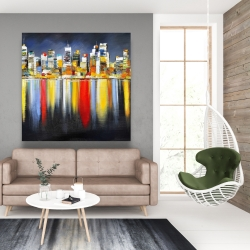 Canvas 48 x 48 - Colorful reflection of a cityscape by night