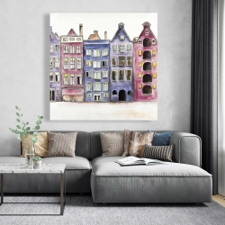 Canvas 48 x 48 - Old historic houses amsterdam
