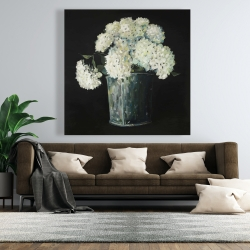 Canvas 48 x 48 - White hydrangea flowers