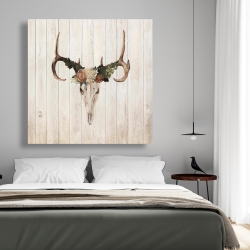 Canvas 48 x 48 - Mule deer skull with roses