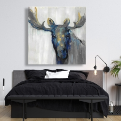 Canvas 48 x 48 - Blue moose