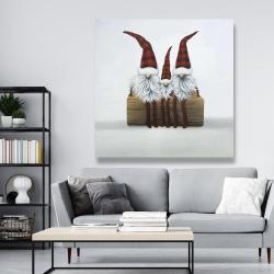 Canvas 48 x 48 - Three christmas gnomes