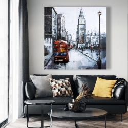 Canvas 48 x 48 - Abstract london and red bus