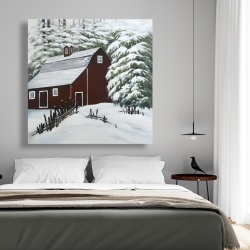 Canvas 48 x 48 - Red barn in snow