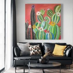 Canvas 48 x 48 - Rainbow cactus