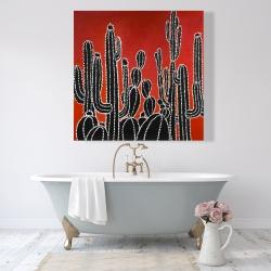 Canvas 48 x 48 - Black tall cactus
