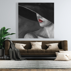 Canvas 48 x 48 - Mysterious woman with a hat