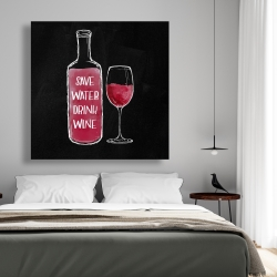 Canvas 48 x 48 - Save water drink wine