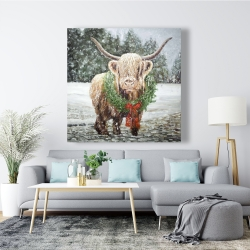 Canvas 48 x 48 - Highland christmas cow