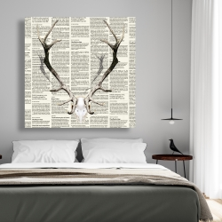 Canvas 48 x 48 - Deer horns on newspaper