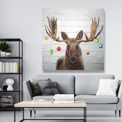 Canvas 48 x 48 - Moose has christmas balls