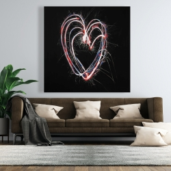 Canvas 48 x 48 - Red & blue fireworks heart