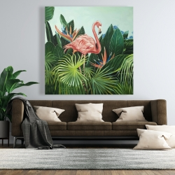 Canvas 48 x 48 - Tropical flamingo