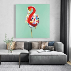 Canvas 48 x 48 - Colorful abstract flamingo