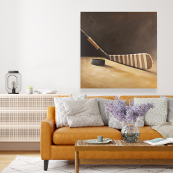Canvas 48 x 48 - Stick and hockey puck