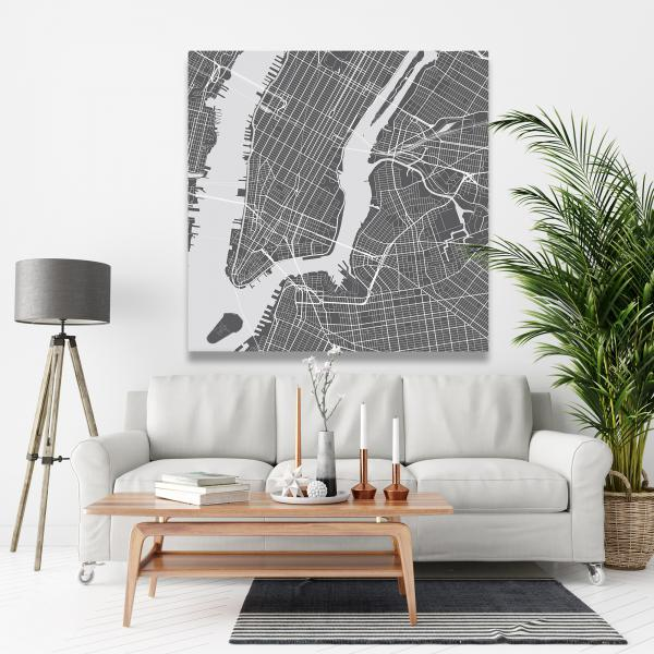 Canvas 48 x 48 - New york graphic map