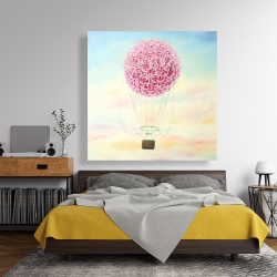 Canvas 48 x 48 - Hot air balloon hydrangea flowers