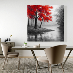 Canvas 48 x 48 - Red trees and lake