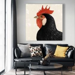 Canvas 48 x 48 - Beautilful black hen