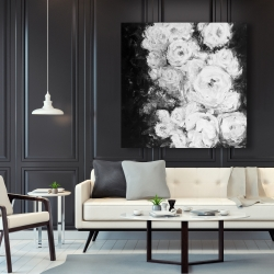 Canvas 48 x 48 - Monochrome rose garden