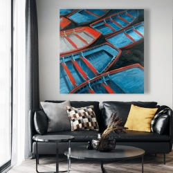 Canvas 48 x 48 - Small blue and red canoes