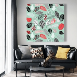 Canvas 48 x 48 - Turquoise leaf patterns