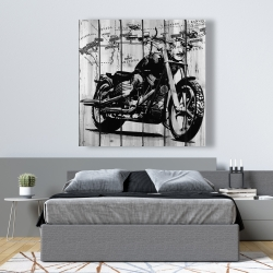 Canvas 48 x 48 - Motorcycle grey and black